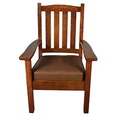 1900 Antique Solid Tiger Oak & Leather Stickley Bros Co Grand Rapids Arm chair
