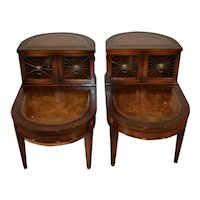 1940s Pair of Regency style mahogany & leather top Tier nightstands / side tables