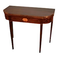 1880s Antique English Sheraton Mahogany Inlaid Game Table / Console Table