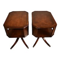 1920s Weiman English Regency Mahogany Leather top Pair side tables / end tables