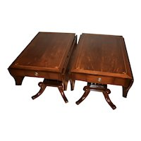1910s Antique English Regency Mahogany inlay Pembroke drop-leaf side tables Pair