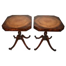 1910 Antique pair of English Regency Mahogany Leather top side tables End Tables