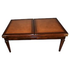 1910s Antique English Regency Mahogany Leather top Coffee Table flip top leaf