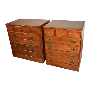 Vintage Ethan Allen Chippendale Style Solid Cherry Chest of drawers nightstands