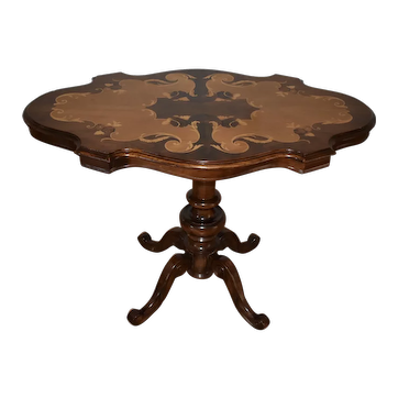 1920 Italian Walnut & Satinwood Inlay Carved Base Center Table / Hall Table
