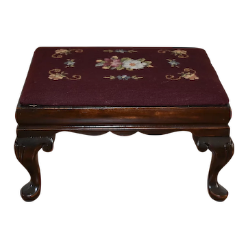 1920 Queen Anne style  Mahogany & original needlepoint Footstool / ottoman