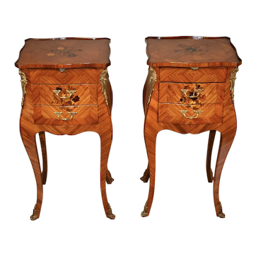 1920 Antique French Louis XV Walnut & Satinwood inlay small Nightstands bedside tables