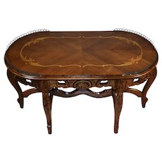 1920 antique French Louis XV Walnut & Satinwood inlay Coffee table