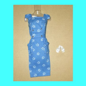 Japanese Exclusive Barbie Blue and White Floral Sheath