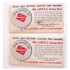 Vintage Collectible Chicago Railroad Fair 1949 Advertising Pin Back Button The Milwaukee Road