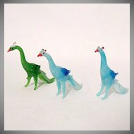 10% Off~Vintage Collectible Occupied Japan Miniature Peacocks Glass Figurines 1946-51 MINT