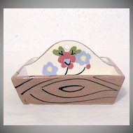 Vintage Collectible Cleminson Pottery Co Miniature Tote Tray with Hand Painted Motif of Flowers 1941-63 Mint