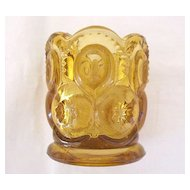 Vintage Collectible L. G. Wright Amber Moon & Stars Toothpick Holder 1960-70s Mint