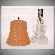 Gorgeous Vintage All Glass 1930s Quilt Design Lamp