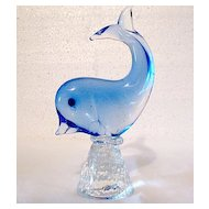 Vintage Collectible Glass Paperweight Porpoise in Crystal & Blue Color Combination 1970s