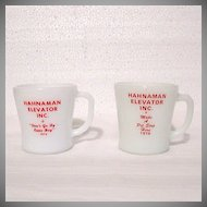 Vintage Collectible 2-Advertising Milk Glass Mugs for Hahnaman Elevator Inc by Fire King & Federal Glass Co 1976-78