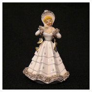 """Vintage 6 1/2"""" Figurine Planter Hand Painted~Gingerbread Decorations~Gold Accent~1950s~Mint"""