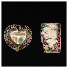 Vintage Collectible (2) Illinois Colored Metal Ashtrays Early 1960s Great Condition Made In Japan