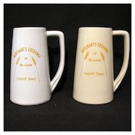 Vintage Collectible Advertising Steins Merchants Exchange St. Louis 142 Years of Service  Grain & Feed Assoc of Illinois 1978