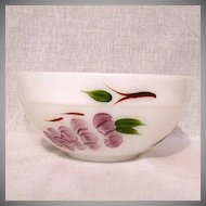 """Vintage Collectible Fire King Mixing Bowl 7 3/8"""" Hand Painted Fruit On Anchor White by Gay Fad Studios Mint Unused Condition 1945-1963"""