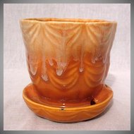 Vintage Collectible Brush Flower Pot & Saucer #328-4 Drape Pattern~Orange & White Drip Glaze 1930-40 Excellent Vintage Condition