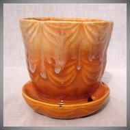 Vintage Collectible Brush Flower Pot & Saucer #328-4 Drape Pattern~Orange & White Drip Glaze 1930-40 Excellent Vintage Condition