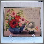 Vintage Collectible Motto Print Plaque A Wish Of Happiness For Mother 1930s