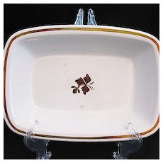 Vintage Collectible Alfred Meakin Copper Lustre Tea Leaf Rectangular Vegetable Bowl 1800s Excellent Condition