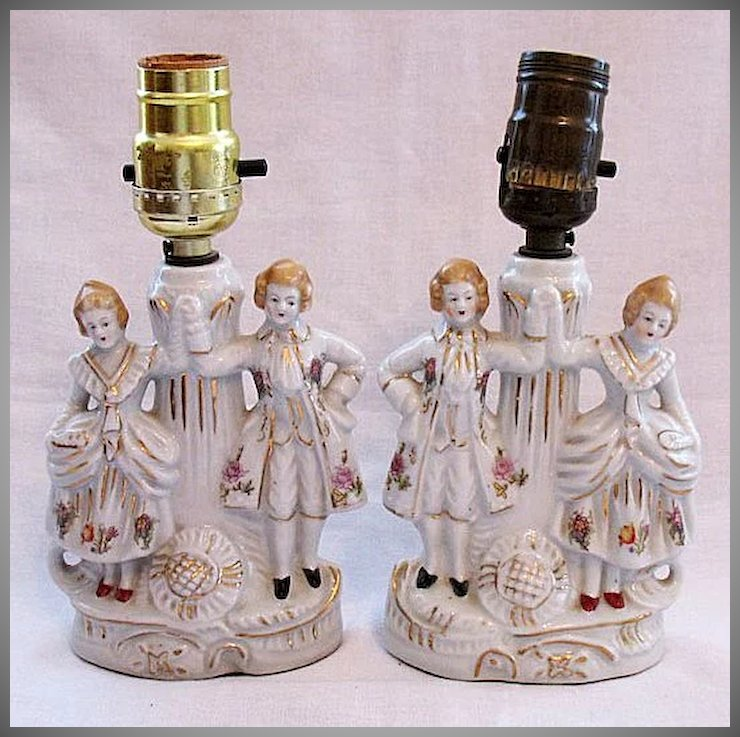 Vintage Collectible Vanity Lamps Colonial Couple : Appletree ...