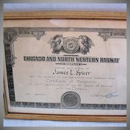 Vintage Collectible Chicago & Northwestern Railroad 25 Years Service Award Presented To Jim Spicer 1971 Excellent Condition
