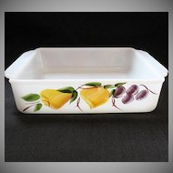 "Vintage Collectible Anchor Hocking Fire King 8"" Sq. Baking Pan Gay Fad Hand Painted Fruit Motif 1950-60s Mint"