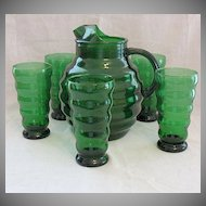 Vintage Elegant Green  Glass Pitcher 5 Glasses Anchor Hocking Glass Company
