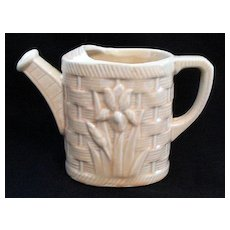 Vintage Shawnee Pottery Planter Watering Can Embossed Tulips On Basketweave Pattern