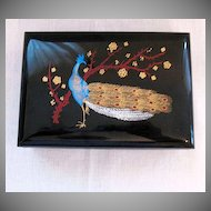 Vintage Collectible Hard Plastic Jewelry Box Peacock Motif Very Good Condition