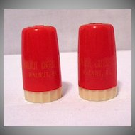 Vintage Collectible Plastic S & P Shakers Walnut Cheese Co Walnut Illinois & Purina Chows 1950s Excellent Condition