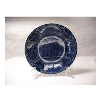 Vintage Flow Blue Ottawa Illinois Souvenir Plate Turn Of The Century Made In England