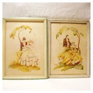 Vintage Collectible Pair Of Southern Couples Courting Prints 1930-40s Excellent