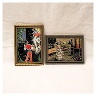 Vintage Collectible Pair Of Reversed Painted Silhouette Prints 1930s-40s Excellent Condition