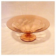 Vintage Rose Pink Low Footed Console Bowl With Etching & Optical Pattern 1930s Excellent Condition