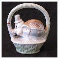 Vintage Figurative Porcelain Elephant in a Basket Iridescent/Lusterware Glaze Made in Brazil Mint