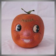 Vintage Florida Large Orange Still  Piggy Bank 1960s