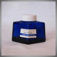 Vintage Parker Cobalt Blue Diamond Shaped Ink Bottle  Original Cap 1950s