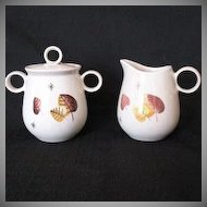 Vintage Retro/Mid-Century Metlox Vernon Ware Sugar & Creamer Sherwood Pattern 1958-65 Mint Condition