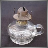 Vintage Short Finger Kerosene Lamp Floral Base Design Early 1900s Still Useable