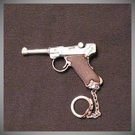 Vintage Toy Keychain Replica Luger Hand Gun 1960-70s Very Good Condition