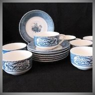 Vintage Currier & Ives (7) Blue Cup & Saucer Sets 1950-70s Royal China Excellent Condition