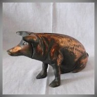 Rare Vintage Chicago Stockyard Souvenir Cast Iron Piggy Bank 1940-50s Very Good Vintage Condition