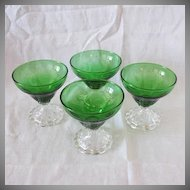 Vintage Anchor Hocking (4) Forest Green Sherbets Inspiration Pattern 1940-65 Like New Condition