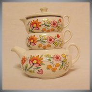 Vintage Old Foley Stack Tea Set Floral Fantasy Pattern James Kent Ltd Staffordshire England Excellent Condition