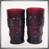 Vintage Avon Cape Cod Ruby Glassware (2) Tumblers 1990 Excellent Condition